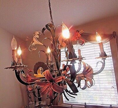 Italian Tole Chandelier Toleware Lilies Floral Light 6 Arms Gorgeous