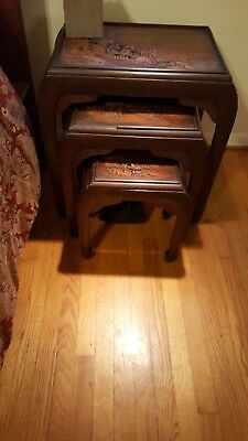 Chinese Nesting Tables Hand Carved Late 19th C. Unrestored Ships Insured REDUCED
