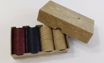 Jockey Embossed Poker Chips 100 Vintage Red Blue and Off White Original Box
