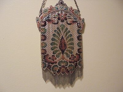 Antique Vintage--Mandalian Mfg --Enamel Mesh Flapper Purse