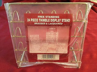 JES Free Standing 24 Piece Thimble Display Stand Brassed & Lacquered 7x7""