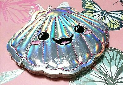 """New! Smiggle """"shimmer"""" Notepad Mini Notebook, Silver Seashell"""