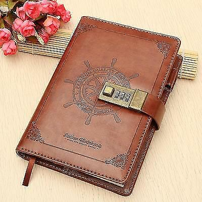 Embossed Leather Sailer Designed Journal With Combination Lock