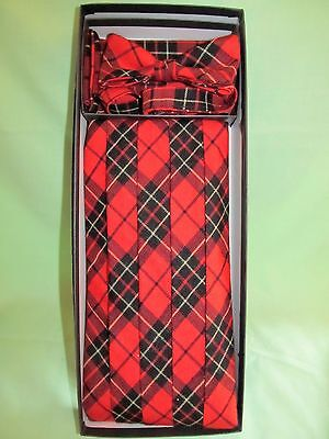 Vintage Mel Howard Cummberbund Pocket Hankie Bow Tie 3pc Set Red Plaid One Size