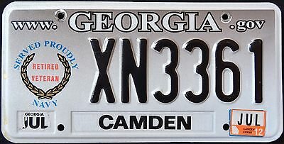 """GEORGIA """" SERVED PROUDLY NAVY VETERAN """" 2012 GA Military Specialty License Plate"""