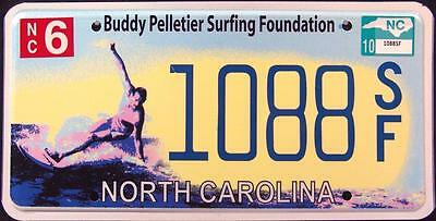 "NORTH CAROLINA "" SURFER BUDDY PELLETIER "" WAVE "" Graphic License Plate"