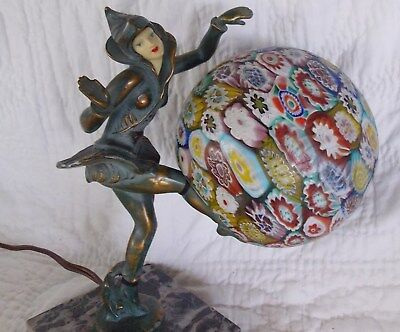 Fabulous Art Deco Pixie Lamp w/ Millifiore Globe, Celluloid Face & Super Patina