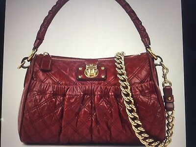 72189db31d4d NWOT MARC JACOBS Julianne Stam Quilted Burgundy Red Leather Purse ...