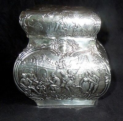 STERLING Silver TEA CADDY Circa 1811 English Import *Ornate Repousse * 255 Grams