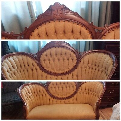 Original Victorian Eastlake gold settee c1880s. Local Pick up Only