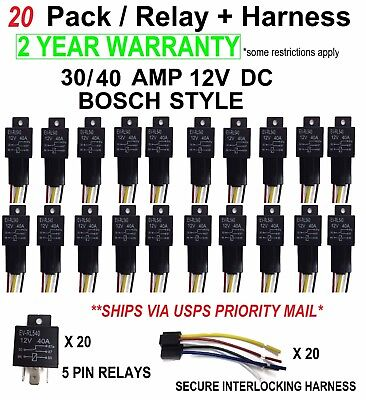 20 SETS Automotive Relay + 5 Wire Harness Socket Car Vehicle 12V 30/40 AMP SPDT