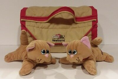 Vintage 80's Pound Puppies PURRIES Lot of 2 Kitty Cats with 1 Carrying Case