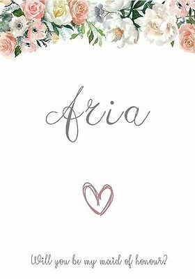 Floral Personalised Maid of Honour or Bridesmaid Request card - Brand New
