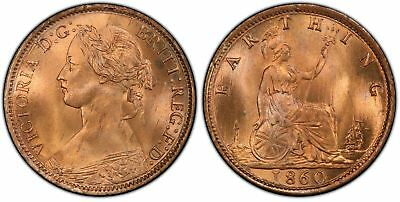 GREAT BRITAIN. Victoria. 1860 AE Farthing. PCGS MS65+RD. SCBC-3958.