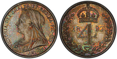 GREAT BRITAIN. Victoria. 1897 AR Maundy Set. PCGS PL66. KM MDS 153; SCBC-3943