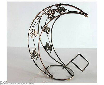 New European Decoration Antique Brass Wrought Iron Moon Shape Wine Rack &$
