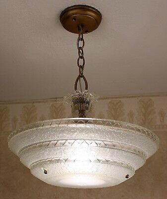 LARGE SASSY 30's ANTIQUE VINTAGE Art Deco GLASS Ceiling Light Fixture CHANDELIER