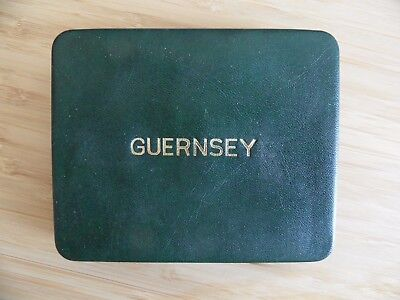 1966 Royal Mint Guernsey 4 Coin Proof Set in Original Leather Box