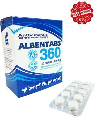 ALBENDAZOLE 36% ALBENTABS 360 ANIMAL LIVESTOCK DEWORMER – 30 tablets x 360 mg