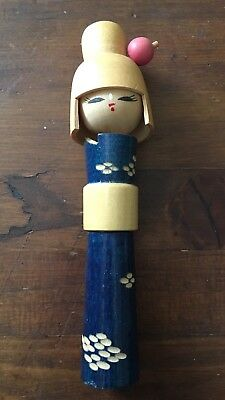 Vintage Japanese Wooden Kokeshi Doll Geisha Blue Lady The Orient Inc. Japan