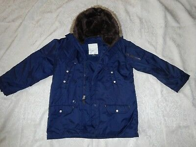 The Children's Place Boys Fall 3/4 SNOORKEL Jacket NAVY BLUE Fake Fur Size 7-8