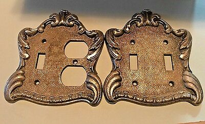 Lot of 2 Vintage Heavy Switch / Outlet Plate Cover, Artistic Spain Brass Metal