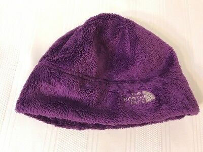 Girls Purple The North Face Size M Winter Fuzzy Hat Cap Youth Beanie Soft Fleece