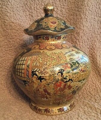 "Large 15""X11"" Vintage Antique ROYAL SATSUMA Temple Jar/ginger"