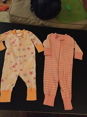 Hanna Andersson 50 Size 0-6 Months Pajamas One Piece GUC Baby Girl LOT OF 2