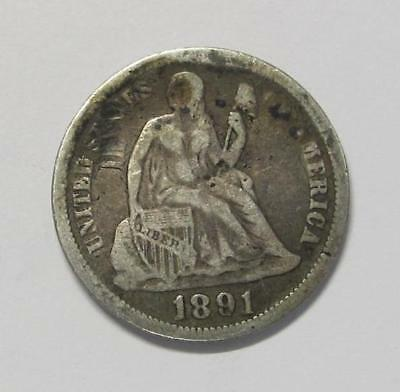 1891 U.S. Dime * Liberty Seated * 90% Silver * Circulated * No Reserve