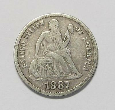 1887-S U.S. Dime * Liberty Seated * 90% Silver * Better Grade * Nice For Book