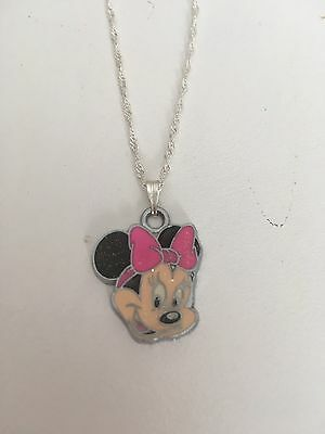 Full Face Minnie Mouse Child's Necklace Pink  Bow