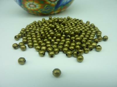 300 pce Antique Bronze Round Metal Spacer Beads 3.2mm Jewellery Making Craft