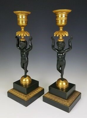 VINTAGE AUSTRIAN ART DECO 20th CENTURY BLACK & GILT BRONZE CHERUB CANDLESTICKS