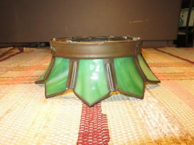 Vintage Antique Green Slag Glass Light Fixture Art Nouveau
