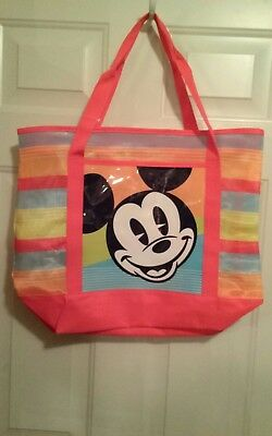 New NWT Disney Store Large Nylon Open Weave Mickey Mouse Beach Summer Tote Bag