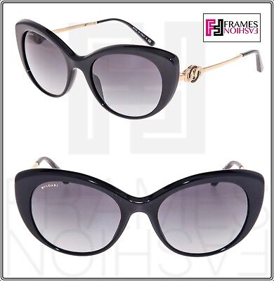 BVLGARI Le Gemme GG3870S Black Rose 18K Gold Plated Edition Cat Eye Authentic