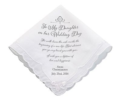For My Daughter On Her Wedding Day - Personalised - Hankie Mum Dad Mother Father