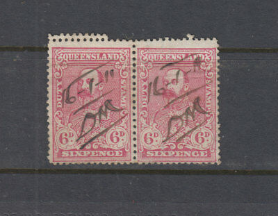 QUEENSLAND 1901 6d Red Ed 7th STAMP DUTY -Revenue-DOUBLE PERFS - FU pair