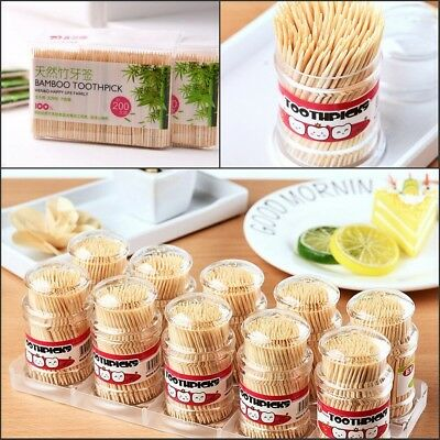 200 PCS 1/2 tête Cure-dents Bois Bâton Bamboo Aliments Fruit Fête Toothpick