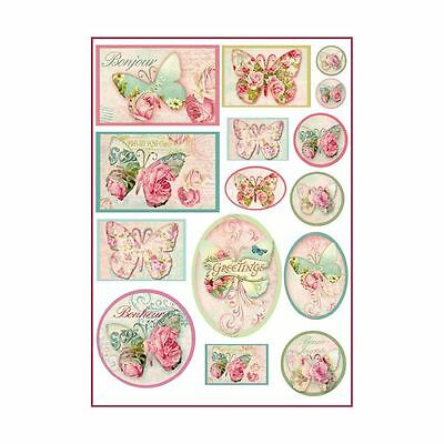 1 Blatt DIN A4 Decoupage Reispapier DFSA4070 tags with butterflies Stamperia