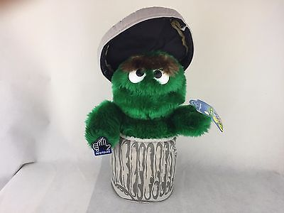 """Oscar the Grouch - In Trash Can W/Lid - Plush - Soft - Applause - 12"""""""