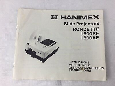Hanimex Slide Projector - Rondette - 1800RF - 1800AF - Instruction Manual ONLY -