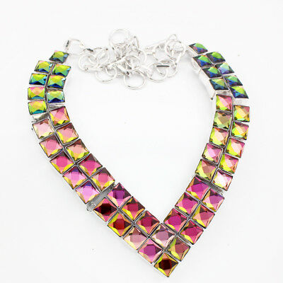 925 Sterling Silver Overlay Rainbow Mystic Topaz Necklace Fashion Jewellery