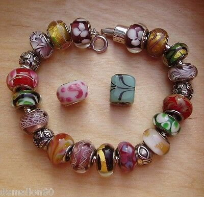 GENUINE EUROPEAN BEAD BRACELET - *WARM COLOURS BRACELET 21.5cm*  - USED
