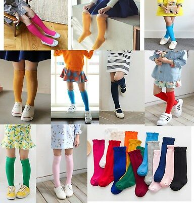 Baby Kids Children Colourful Loose opening Knee High Cotton Socks 1-7 Years