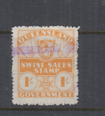 Queensland 1962 -1/- Orange SWINE SALES DUTY - Elsmore Cat $15++ FU