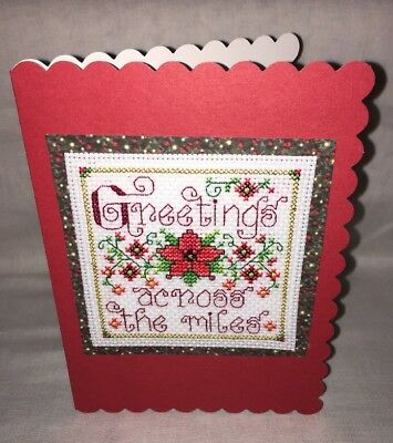 Greetings Across The Miles Christmas Cross Stitched Card