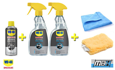 WD40 Specialist Motorcycle Silicone Shine, Total Wash, Microfibre & Wash Mitt
