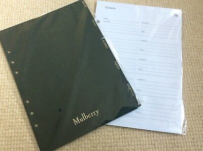 Mulberry PLANNER Address CONTACTS PAGES and Dividers